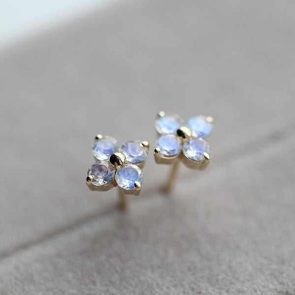Moonstone Stud Earrings Gold Jewelry Accessories Women