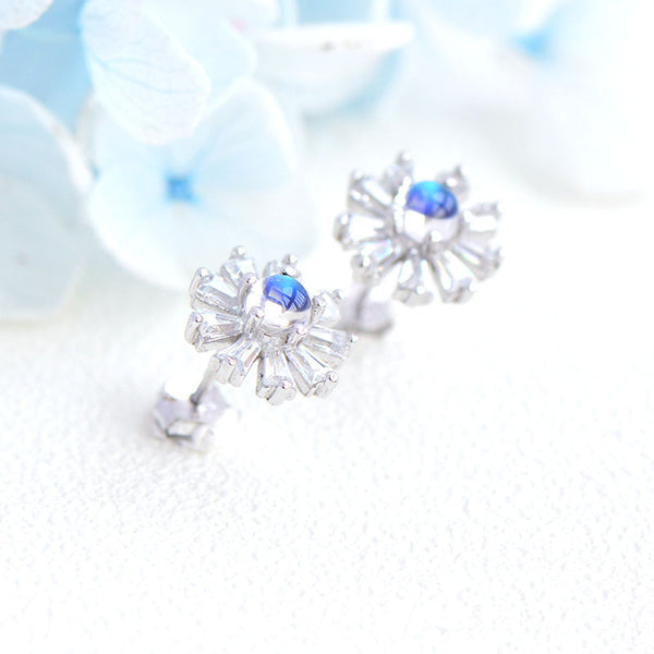 Moonstone Flower shaped Stud Earrings in White Gold Plated Sterling Silver Jewelry Accessories Women