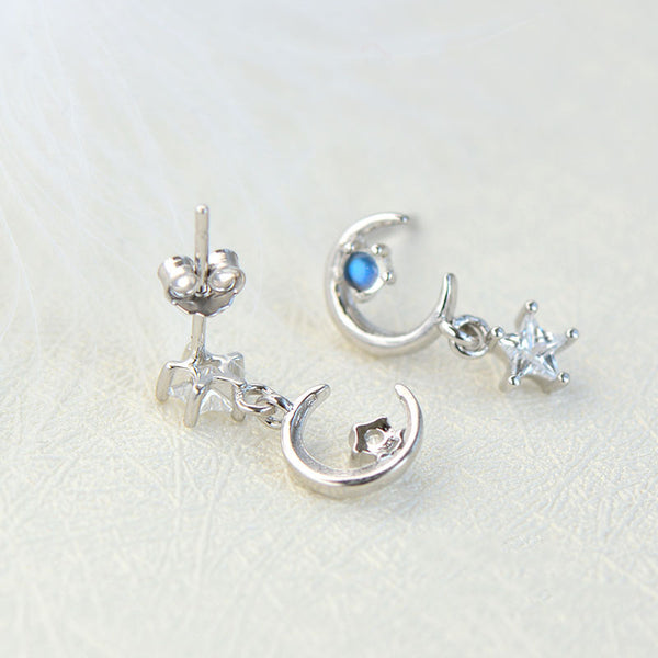 Moonstone Asymmetric Stud Dangle Earrings in White Gold Plated Sterling Silver Jewelry Accessories Women