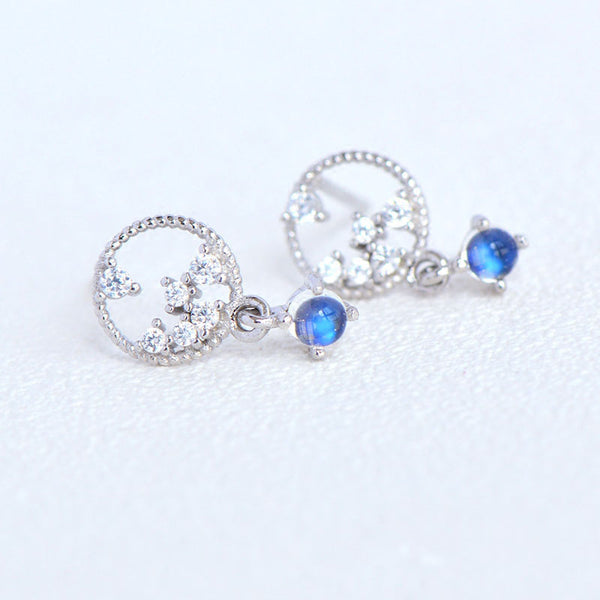 Moonstone Zircon Stud Earrings Gold Silver Jewelry Accessories Women beautiful