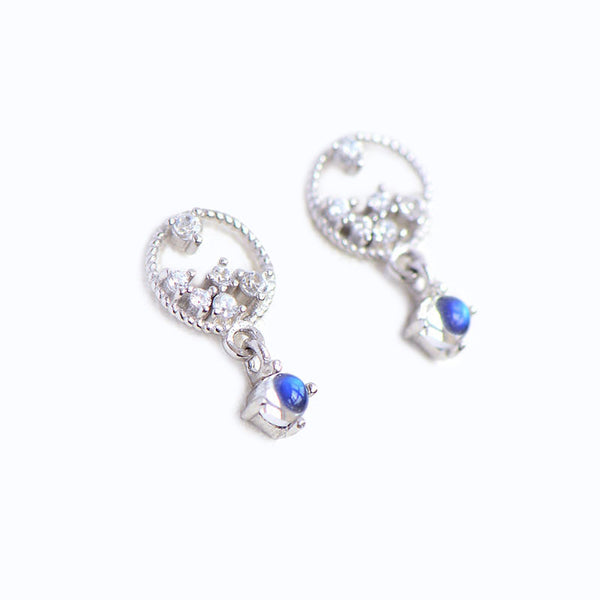 Moonstone Zircon Stud Earrings Gold Silver Jewelry Accessories Women june jewelry