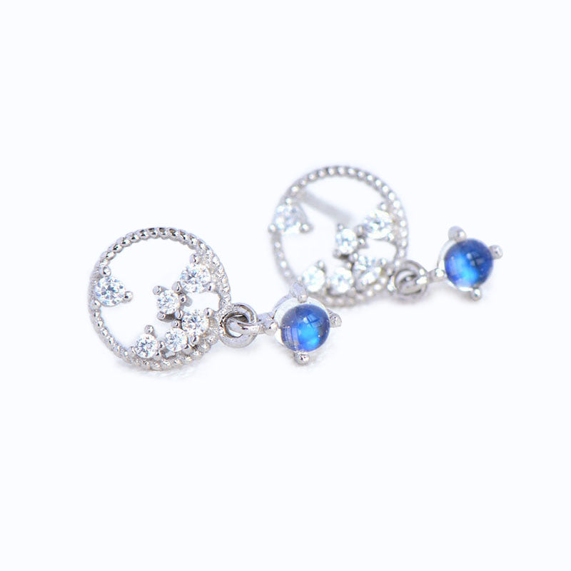 Moonstone Zircon Stud Earrings Gold Silver Jewelry Accessories Women