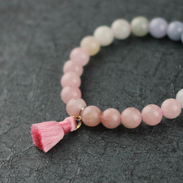 Morganite Beaded Bracelet Handmade Gemstone Jewelry Accessories Gifts For Women