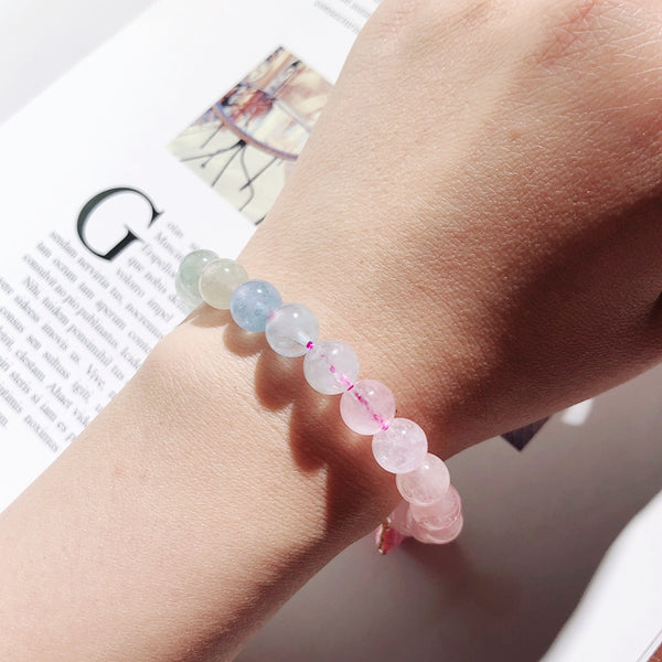 Morganite Beaded Bracelet Handmade Gemstone Jewelry Accessories Gifts Women elegant