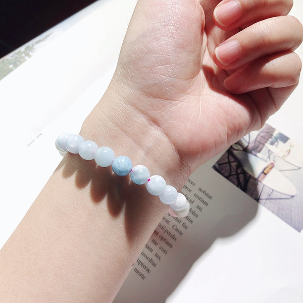 Morganite Beaded Bracelet Handmade Gemstone Jewelry Accessories Gifts Women fashionable