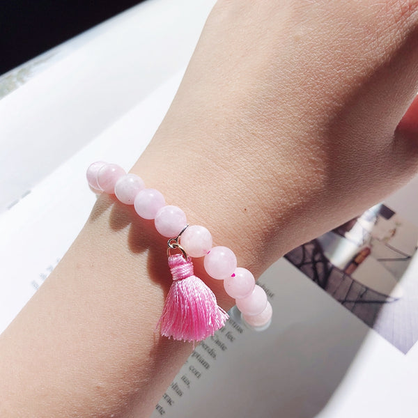 Morganite Beaded Bracelet Handmade Gemstone Jewelry Accessories Gifts Women gift