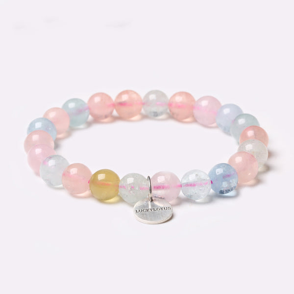 Morganite Beaded Bracelets Handmade Gemstone Jewelry Accessories Gift Women Men