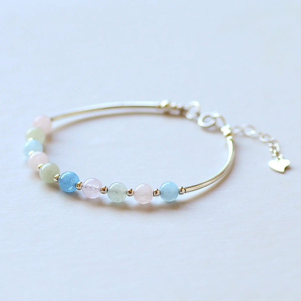 Morganite Silver Beaded Bracelet Handmade Jewelry Accessories Gift Women chic