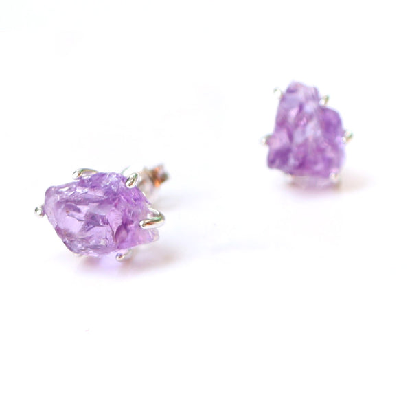 Natural Amethyst Stud Earrings Silver Handmade Jewelry Accessories Women