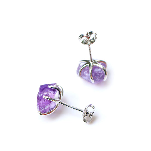 Natural Amethyst Stud Earrings sterling Silver Handmade Jewelry Accessories Women back