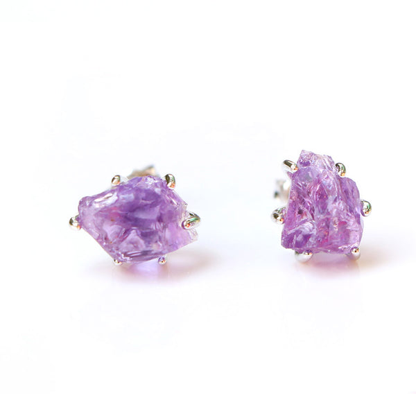Natural Amethyst Stud Earrings in Sterling Silver Handmade Jewelry Accessories Women