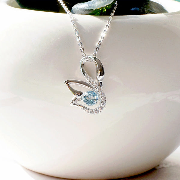Natural Aquamarine Necklace March Birthstone Jewelry Gift Women