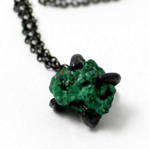 Natural Malachite Pendant Necklace Vintage Silver Handmade Unique Jewelry Women front