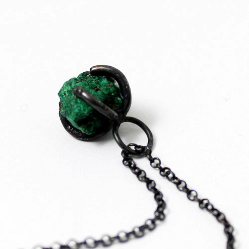 Natural Malachite Pendant Necklace Vintage Silver Handmade Unique Jewelry Women Right
