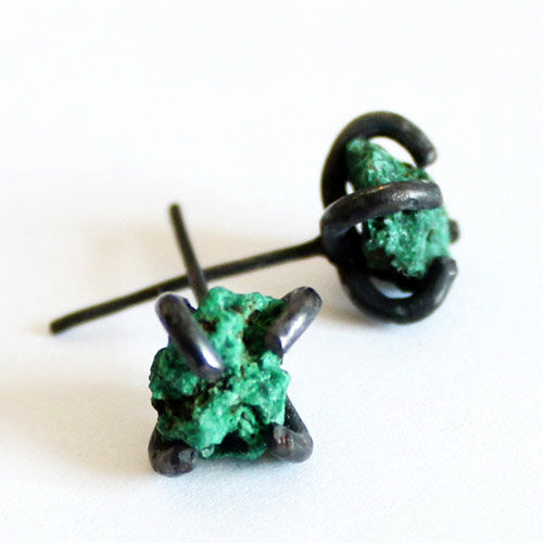 Natural Malachite Stud Earrings in Vintage Silver Handmade Jewelry Accessories Women front