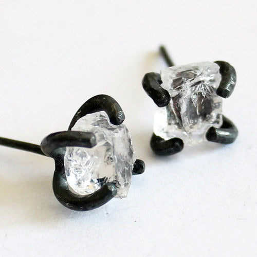 Natural White Quartz Crystal Stud Earrings Vintage Silver Handmade Jewelry Accessories Women left