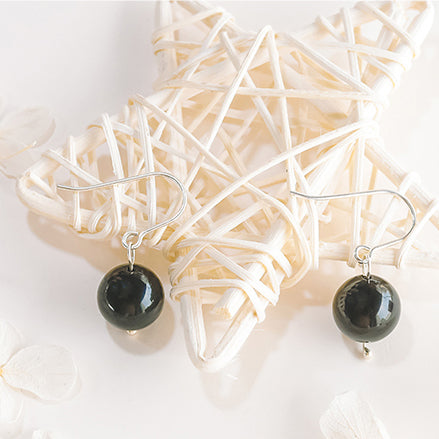 Obsidian Bead Drop Earrings Handmade Jewelry Accessories Women black