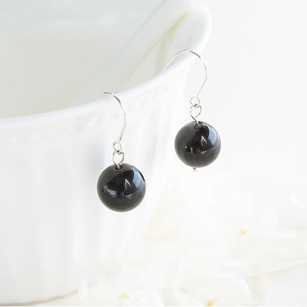 Obsidian Bead Drop Earrings Handmade Jewelry Accessories Women