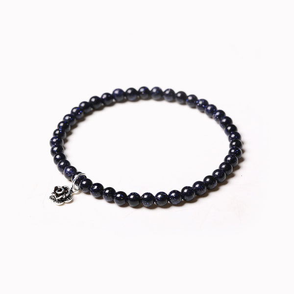 Obsidian Blue Sandstone Beaded Bracelets Handmade Gemstone Jewelry Accessories for Women Men