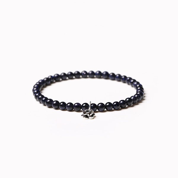 Obsidian Blue Sandstone Beaded Bracelets Handmade Gemstone Jewelry Accessories Women Men