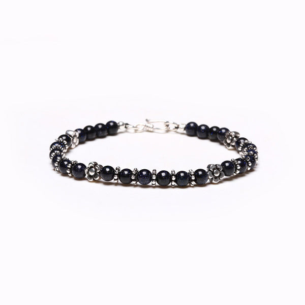 Obsidian Blue Sandstone Onyx Beaded Bracelets Handmade Gemstone Jewelry Accessories for Women Men