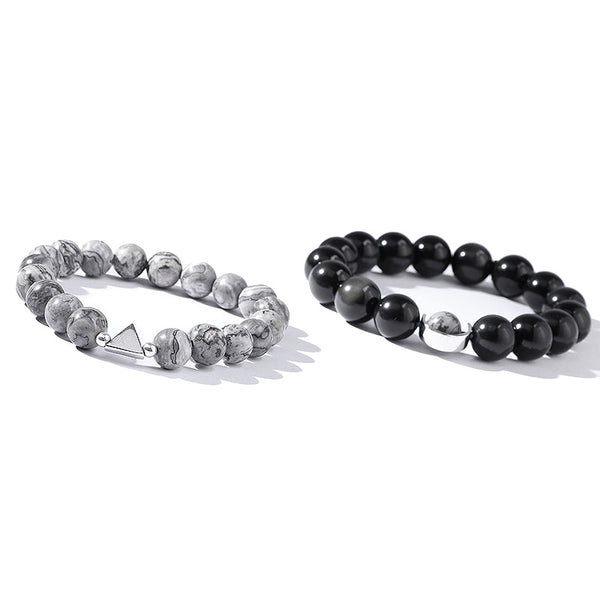 Obsidian Picasso Stone Beaded Bracelet Handmade Lovers Couple Jewelry crystal gift silver