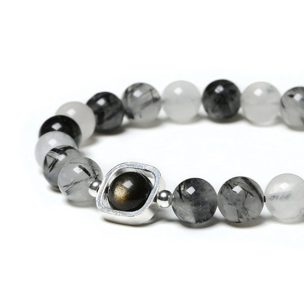 Obsidian Rutilated Quartz Bead Bracelet Handmade Couples Lovers Jewelry Accessories Women Men fine