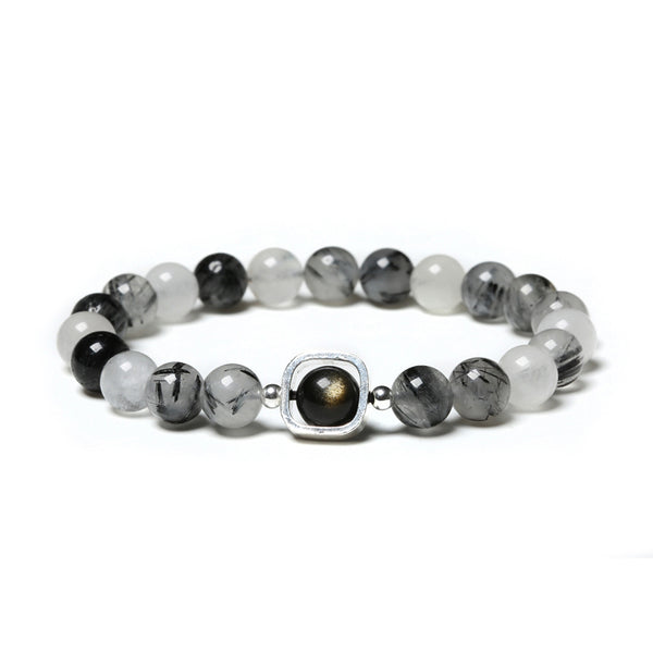 Obsidian Rutilated Quartz Bead Bracelet Handmade Couples Lovers Jewelry Accessories Women Men cool
