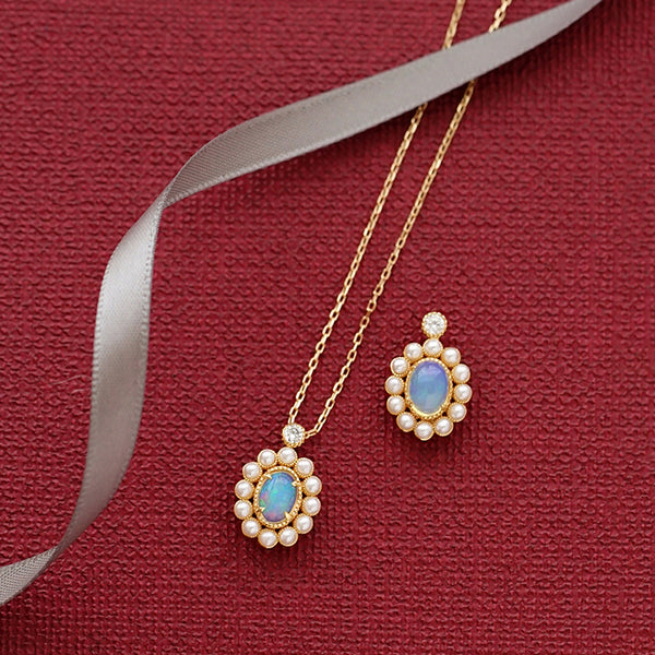 Opal Pearl Pendant Necklace Gold Sterling Silver Jewelry Accessories Women chic