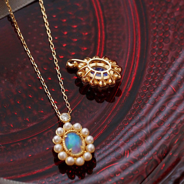 Opal Pearl Pendant Necklace Gold Sterling Silver Jewelry Accessories Women cute