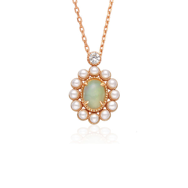 Opal Pearl Pendant Necklace Gold Sterling Silver Jewelry Accessories Women fashionable
