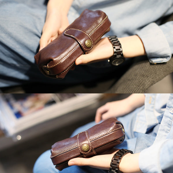 Original Womens Brown Leather Wallets Doctor Bag Clutch Wallet for Women Boutique