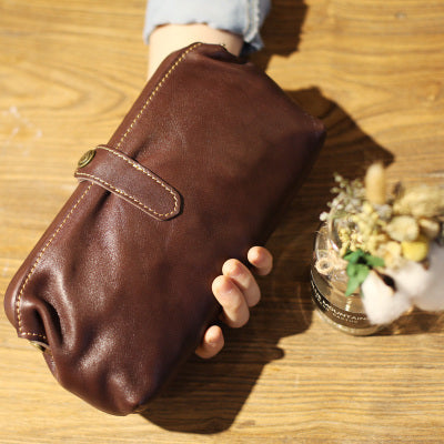 Original Womens Brown Leather Wallets Doctor Bag Clutch Wallet for Women Designer