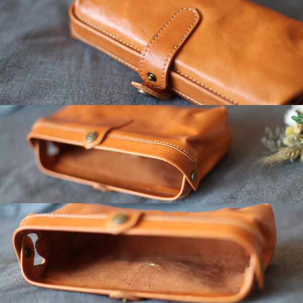 Original Womens Brown Leather Wallets Doctor Bag Clutch Wallet for Women Details