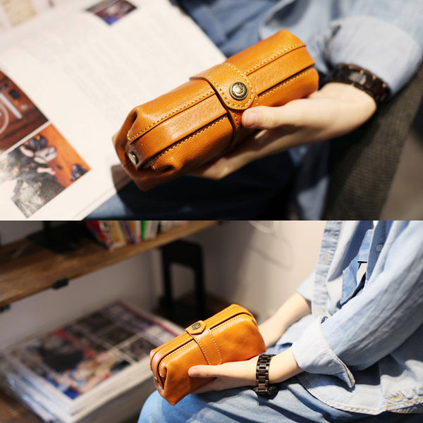 Original Womens Brown Leather Wallets Doctor Bag Clutch Wallet for Women Genuine Leather