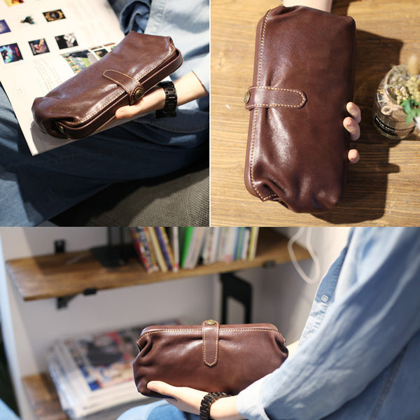 Original Womens Brown Leather Wallets Doctor Bag Clutch Wallet for Women Handmade