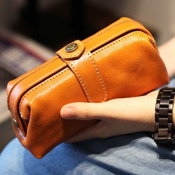 Original Women Brown Leather Wallets Doctor Bag Clutch Wallet for Women