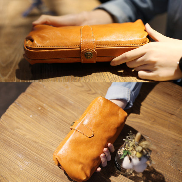 Original Womens Brown Leather Wallets Doctor Bag Clutch Wallet for Women gift