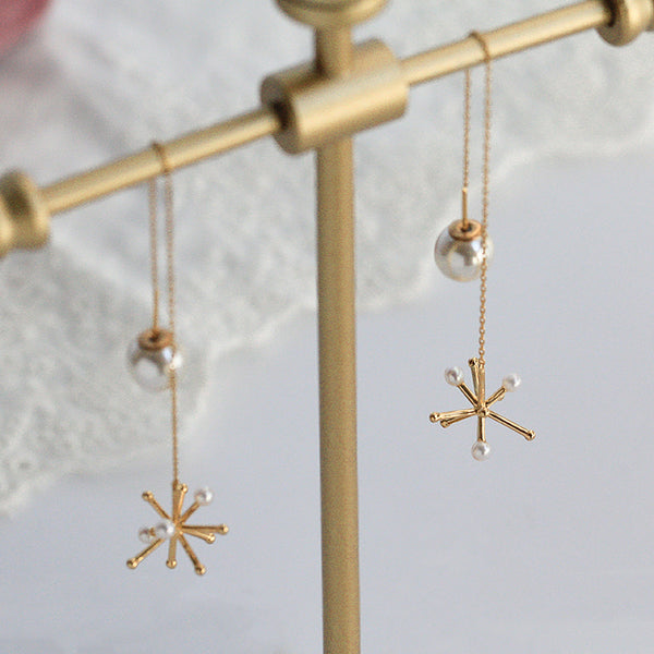 Pearl Snowflake Drop Earrings Threader Earrings Gold Plated Silver Jewelry For Women