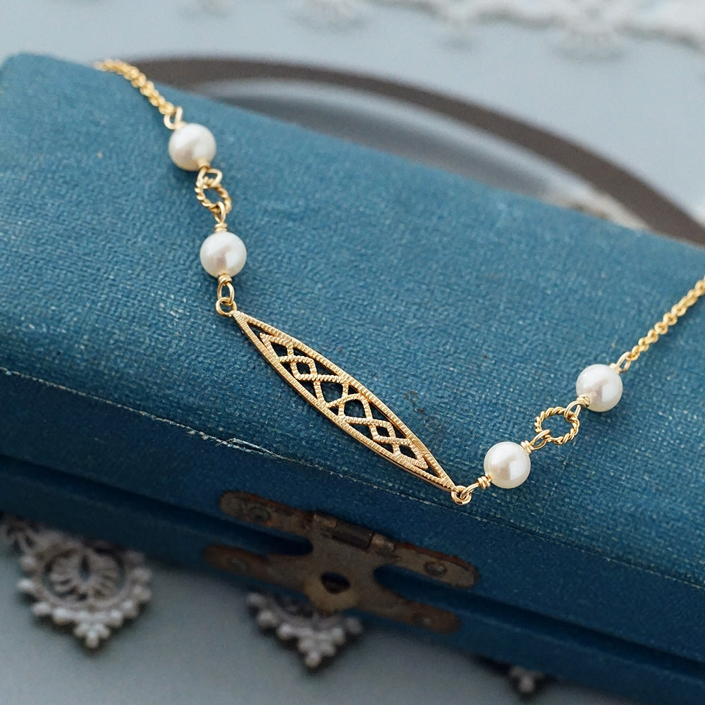Pearl Bracelet Gold Sterling Silver Vintage Jewelry Accessories Women adorable