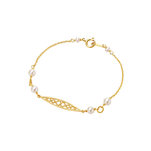 Pearl Bracelet Gold Sterling Silver Vintage Jewelry Accessories Women gift