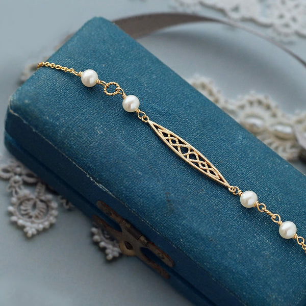 Freshwater Pearl Bracelet 14K Gold Plated Sterling Silver Vintage Jewelry Accessories For Women