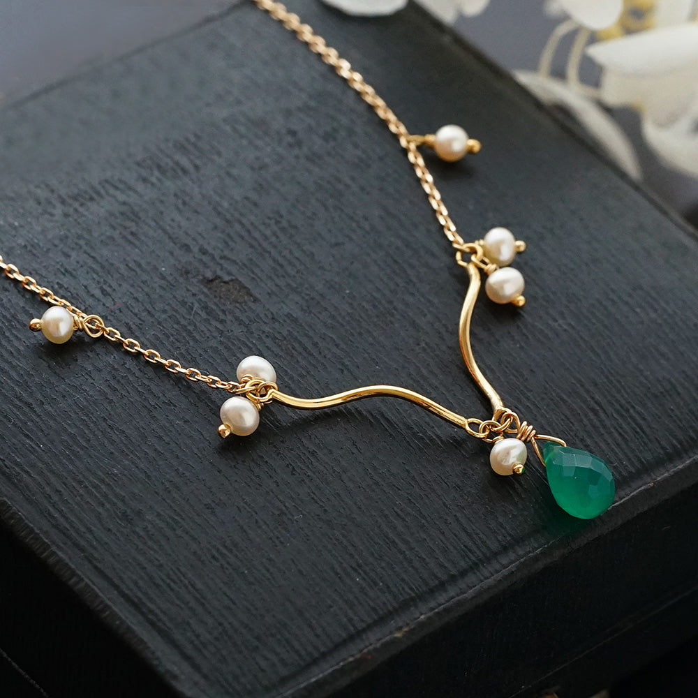 Pearl Chalcedony Pendant Necklace Gold Silver handmade Jewelry Accessories Women adorable