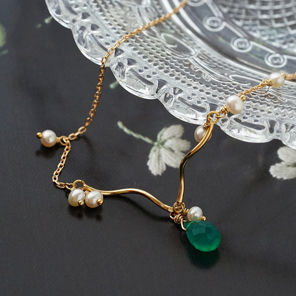 Pearl Green Chalcedony Pendant Necklace 14K Gold Plated Silver Jewelry Accessories Women