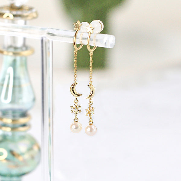Opal and Pearl Clip Earrings Threader Earrings Gold Plated Silver Jewelry For Women