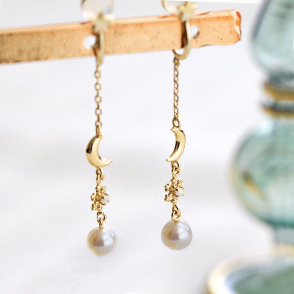 Pearl Clip Threader Earrings Gold Silver June birthstone Jewelry Women elegant