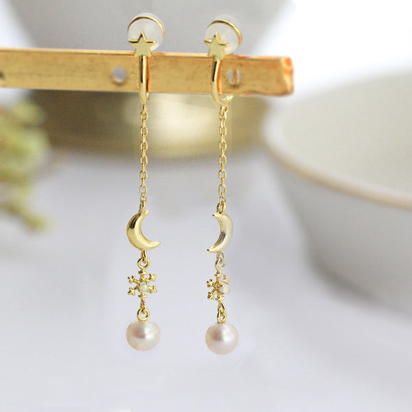 Pearl Clip Threader Earrings Gold Silver June birthstone Jewelry Women gift