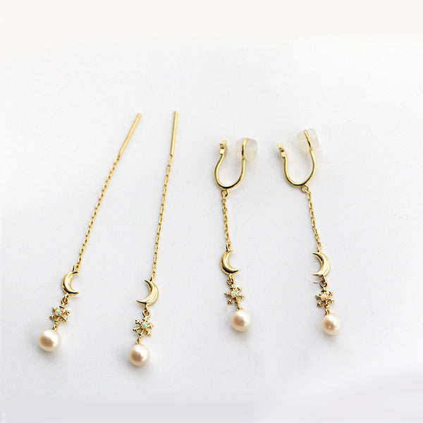 Pearl Clip Threader Earrings Gold Silver June birthstone Jewelry Women natural