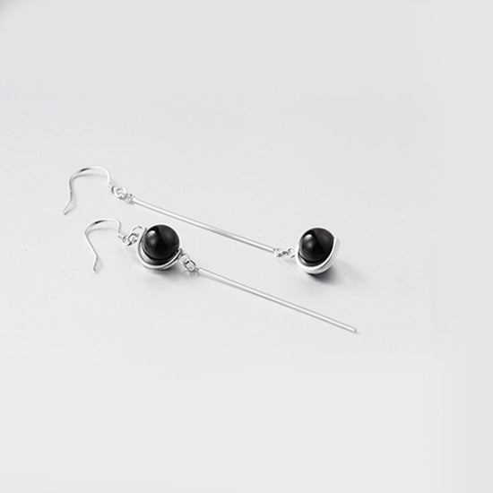 Pearl Dangle Earrings Silver Jewelry Accessories Gifts Women black