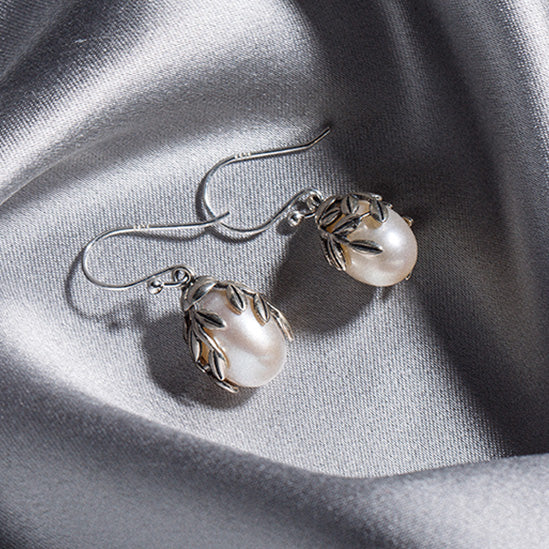 Pearl Drop Earrings Silver Jewelry Accessories Gift Women beautiful